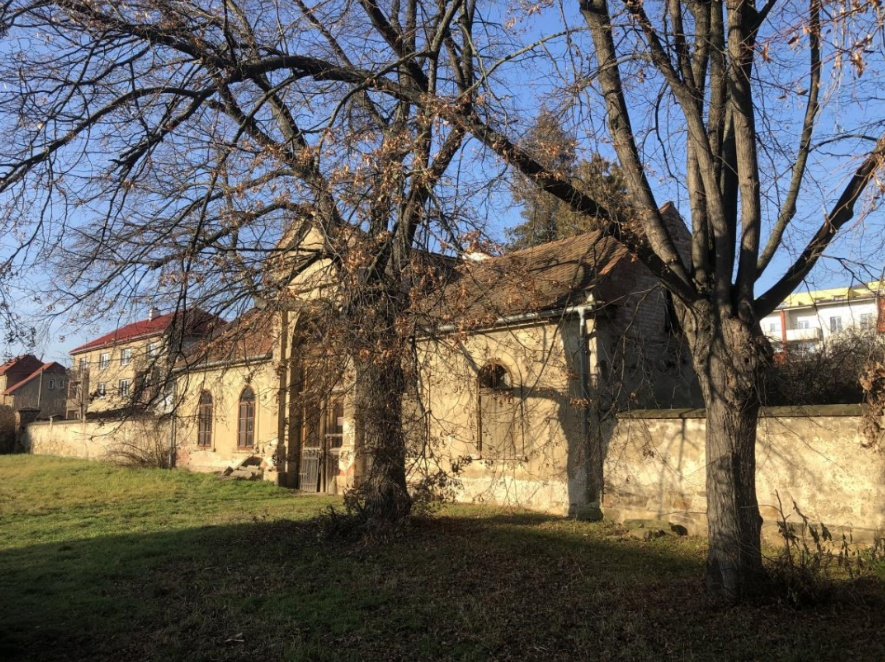 Fotografie vstupní brány berounského židovského hřbitova se vzrostlými lípami
