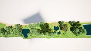 Vizualizace nových tůní v Brdatkách (vpravo stávající rybník)